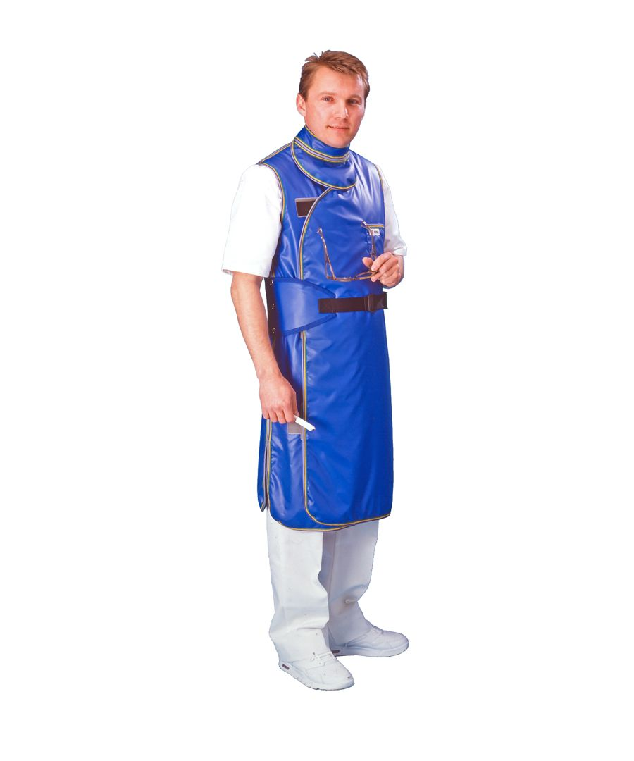 With optional pocket. Model also wearing lumbar support belt and thyroid collar, available separately.